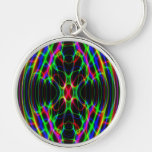 Neon Laser Light Psychedelic Abstract Silver-Colored Round Key Ring