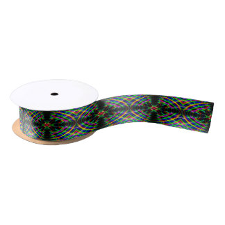 Neon Laser Light Psychedelic Abstract Satin Ribbon