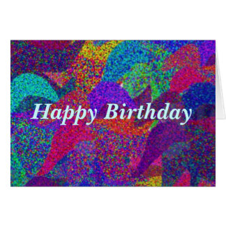 Neon Leaves Happy Birthday Card