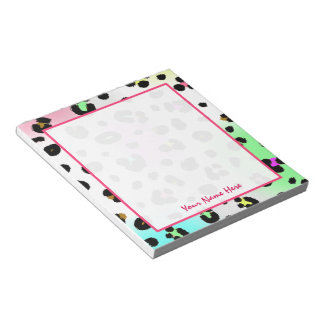 Neon Leopard Personalised Notepad