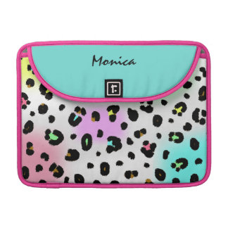 Neon Leopard Print & Blue Rickshaw Flap Sleeve MacBook Pro Sleeve