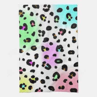 Neon Leopard Print Kitchen Towel