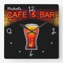 Neon Light Mancave Home Personalised Bar Clock