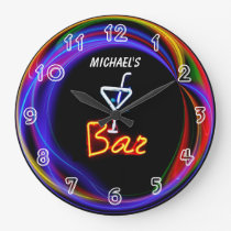 Neon Light Private Home Personalised Bar Clock