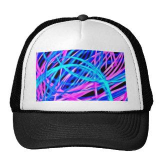 Neon light show, pink blue mesh hats
