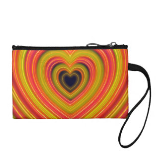 Neon Lighted Girly Heart Design Coin Purse