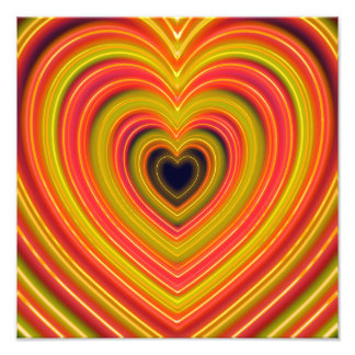 Neon Lighted Girly Heart Design Photographic Print