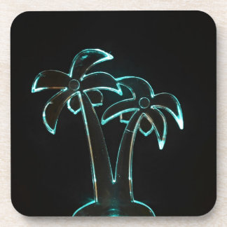 Neon Lighted Tropical Palm Trees Image Beverage Coasters