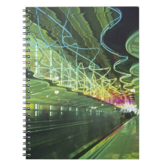 Neon lighting in corridor of the O'hare Airport, Notebooks