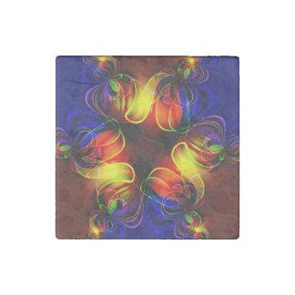 Neon Lights Fractal Stone Magnet