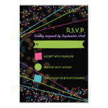 Neon Lights Glow in the Dark RSVP Response Card 9 Cm X 13 Cm Invitation Card