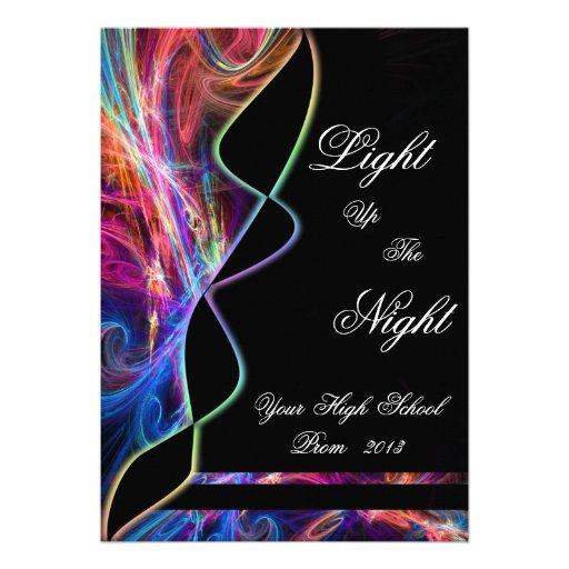 Neon Lights High School Prom Party Invitations