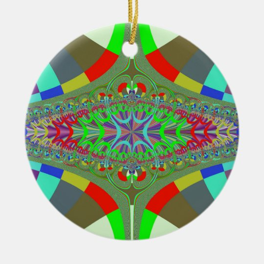Neon Lights Ladder Fractal Round Ceramic Decoration