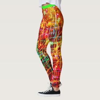 Neon Lights Pants Black Leggings Women's Running