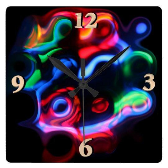 Neon Lights Square Wall Clock