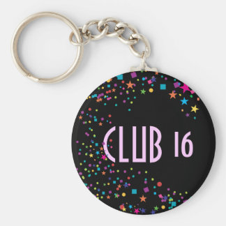 Neon Lights Sweet 16 Club Party Favor Keychain