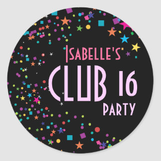 Neon Lights Sweet 16 Club Party Favor Sticker