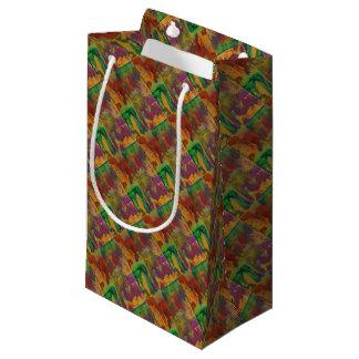 Neon lights through rainy window small gift bag