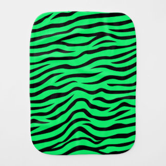 Neon Lime Green and Black Animal Print Zebra Burp Cloth