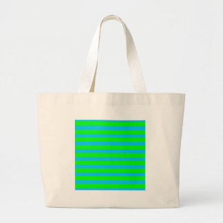 Neon Lime Green and Teal Blue Stripes Canvas Bags