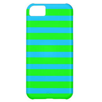 Neon Lime Green and Teal Blue Stripes iPhone 5C Case