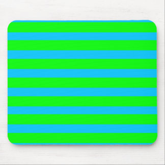 Neon Lime Green and Teal Blue Stripes Mouse Pad
