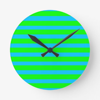 Neon Lime Green and Teal Blue Stripes Wall Clocks