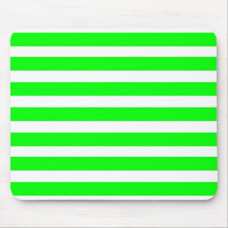 Neon Lime Green and White Stripes Pattern Novelty Mouse Pad