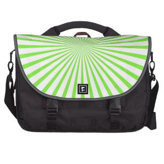 Neon Lime Green & White Radiant Stripes Bag For Laptop