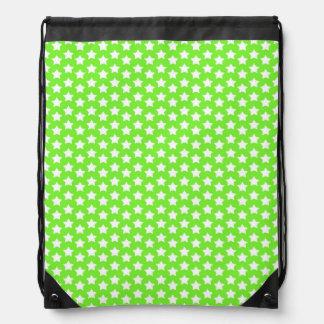 Neon Lime Green & White Stars Drawstring Bags