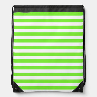 Neon Lime Green & White Stripes; Striped Backpacks