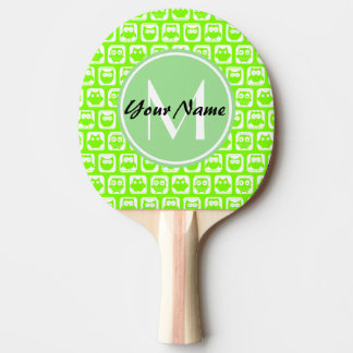 Neon Lime Owls Personalized Monogram Ping Pong Paddle