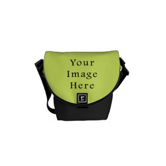 Neon Lime Yellow Green Color Trend Blank Template Messenger Bags