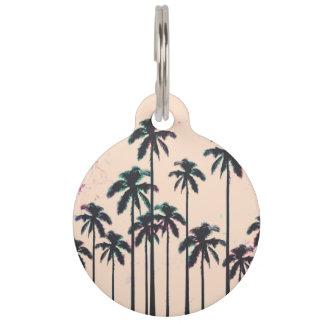 Neon Lined Black Palm Trees on Peach Horizon Pet Nametag