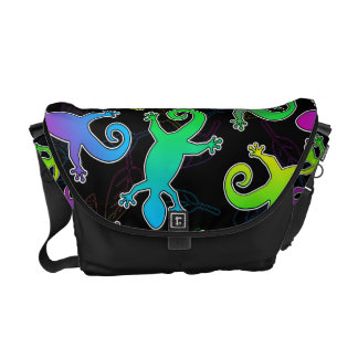 Neon Lizard and Leaf Pattern Messenger Bags
