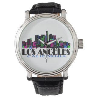 Neon Los Angeles California skyline wrist watch