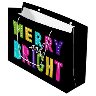 Neon Merry and Bright Large Gift Bag
