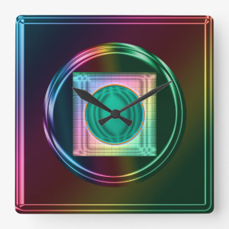 Neon, Metallic Rainbow, Funky Abstract Clock