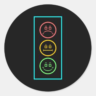 Neon Moody Stoplight Classic Round Sticker