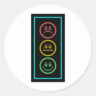 Neon Moody Stoplight Round Sticker