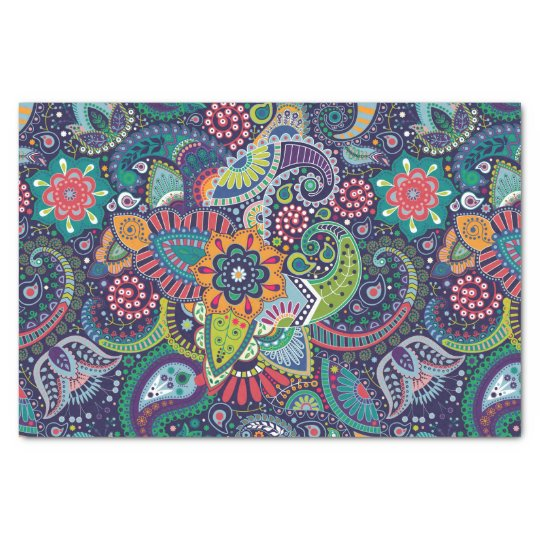 Neon Multicolor floral Paisley pattern Tissue Paper