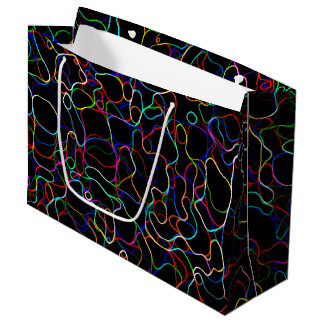 Neon Multicolor Lines Large Gift Bag