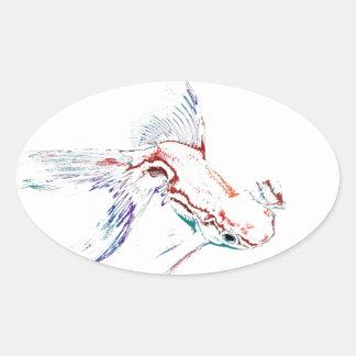 Neon Multicolor Rainbow Fish/Goldfish/Koi Oval Sticker