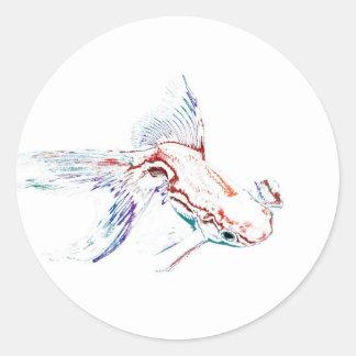 Neon Multicolor Rainbow Fish/Goldfish/Koi Round Sticker