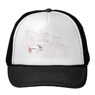 Neon Multicolor Rainbow Horse in Red Rock Country Mesh Hat