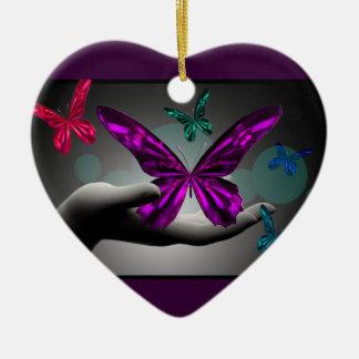 Neon Mystic Butterflies Christmas Ornament