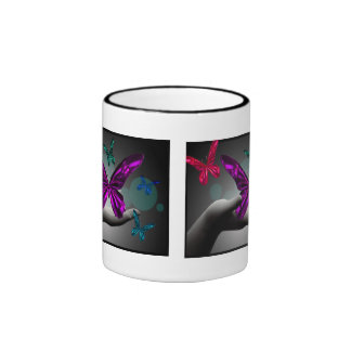 Neon Mystic Butterflies Ringer Mug