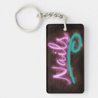 Neon Nails Sign Double-Sided Rectangular Acrylic Key Ring