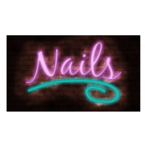 Neon Nails Technician Business Card Template