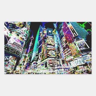 Neon New York City Rectangular Sticker